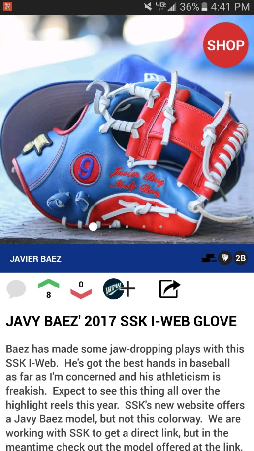 Baez' locker in the app