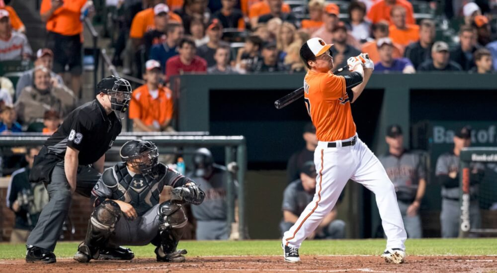 Trey Mancini Swinging