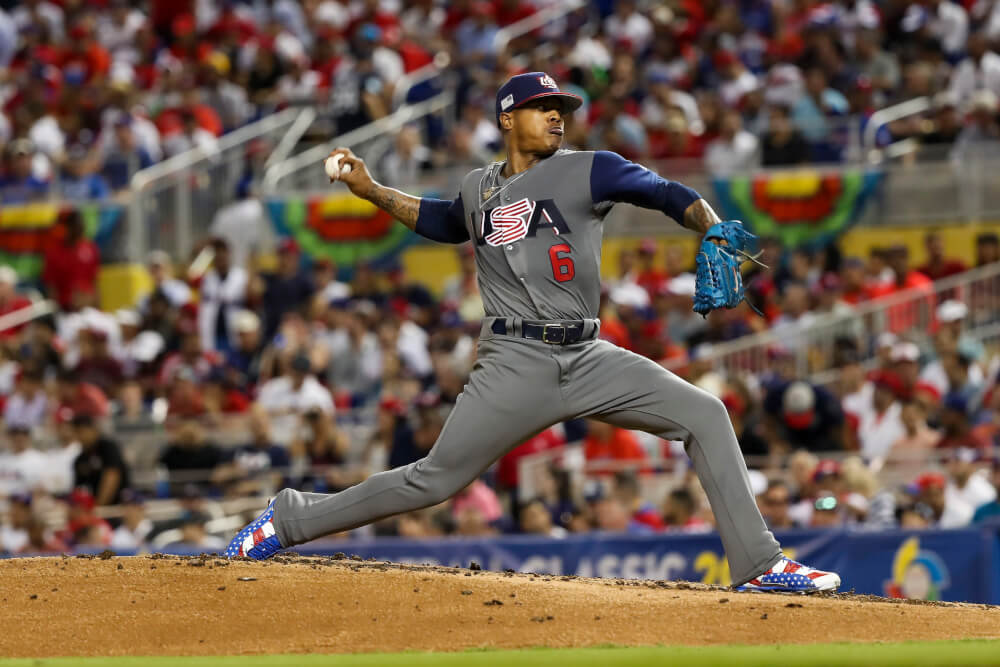 Mar 11, 2017; Miami, FL, USA; United States pitcher Marcus Stroman (6) throws the ball in the second inning against the Dominican Republic during the 2017 World Baseball Classic at Marlins Park. Mandatory Credit: Logan Bowles-USA TODAY Sports