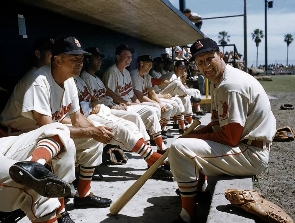 Baseball: St. Louis Cardinals Stan Musial (5) in dugout with teammates during spring training. Florida 3/1/1957 CREDIT: John G. Zimmerman (Photo by John G. Zimmerman /Sports Illustrated/Getty Images) (Set Number: X4456 )