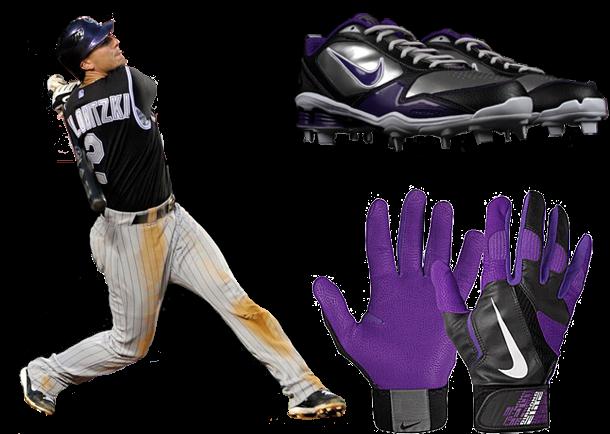 troy tulowitzki cleats, troy tulowitzki batting gloves, nike shox, nike diamond elite
