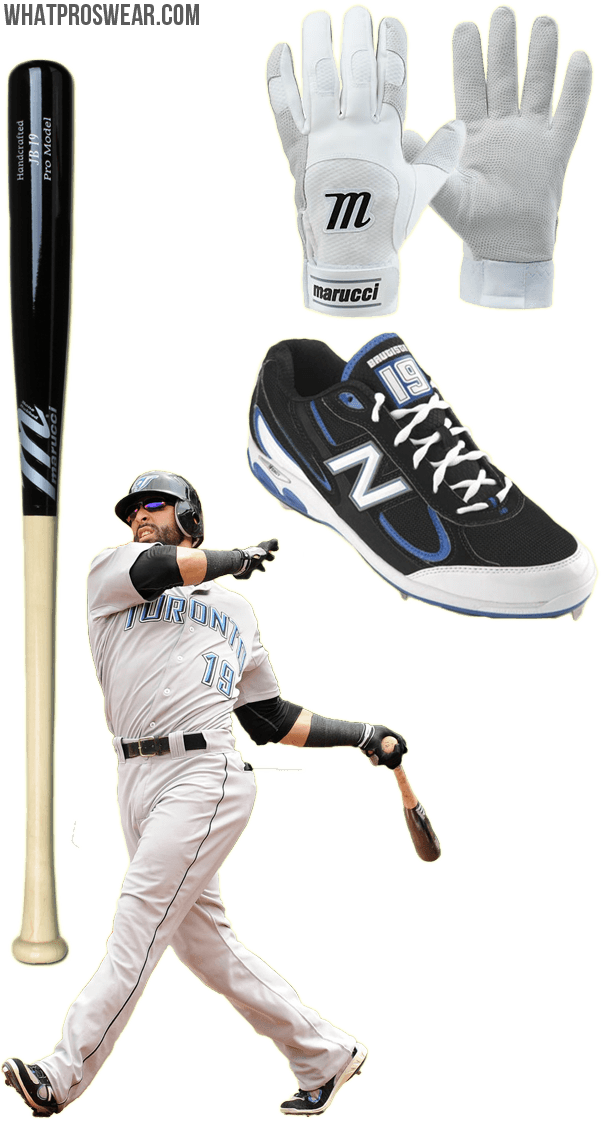 jose bautista bat, jose bautista batting gloves, marucci bat, bautista cleats, new balance cleats, marucci batting gloves