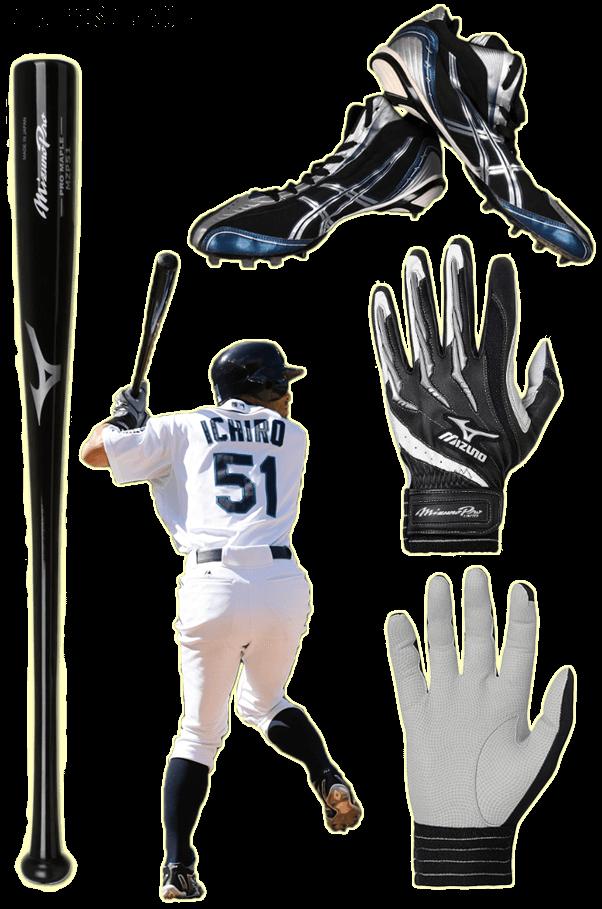 ichiro bat, ichiro batting gloves, ichiro cleats, ichiro mizuno
