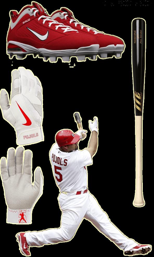 albert pujols bat, albert pujols batting gloves, albert pujols cleats, marucci AP5, nike diamond elite pro, diamond elite fly