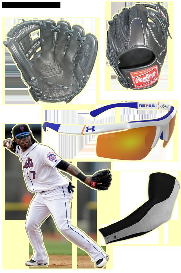 Jose Reyes glove, jose reyes sunglasses, reyes rawlings glove, reyes under armour, phiten sleeve