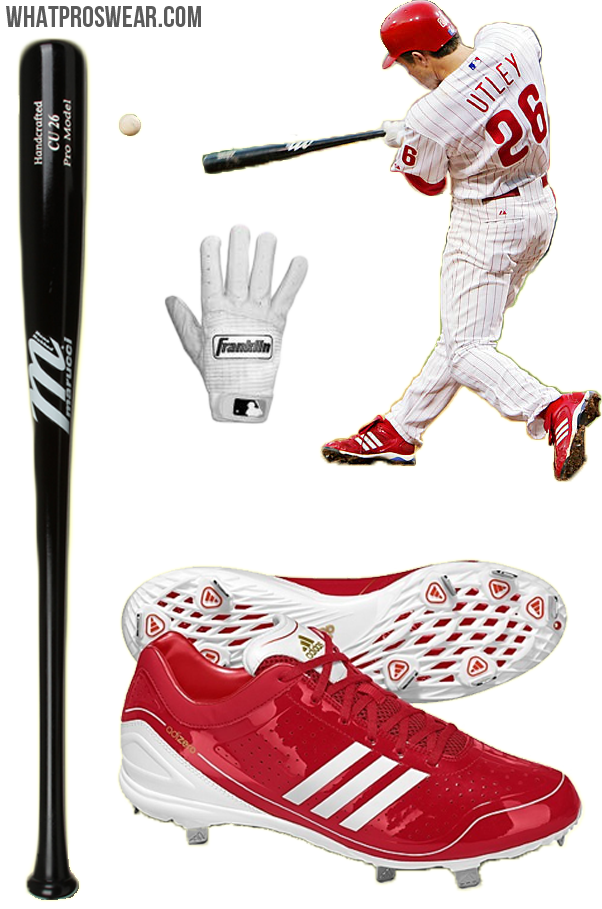 chase utley bat, chase utley batting gloves, chase utley cleats, utley adidas, utley marucci, utley franklin