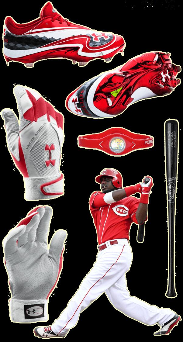 brandon phillips bat, brandon phillips batting gloves, under armour batting gloves, under armour cleats, power balance wristbands