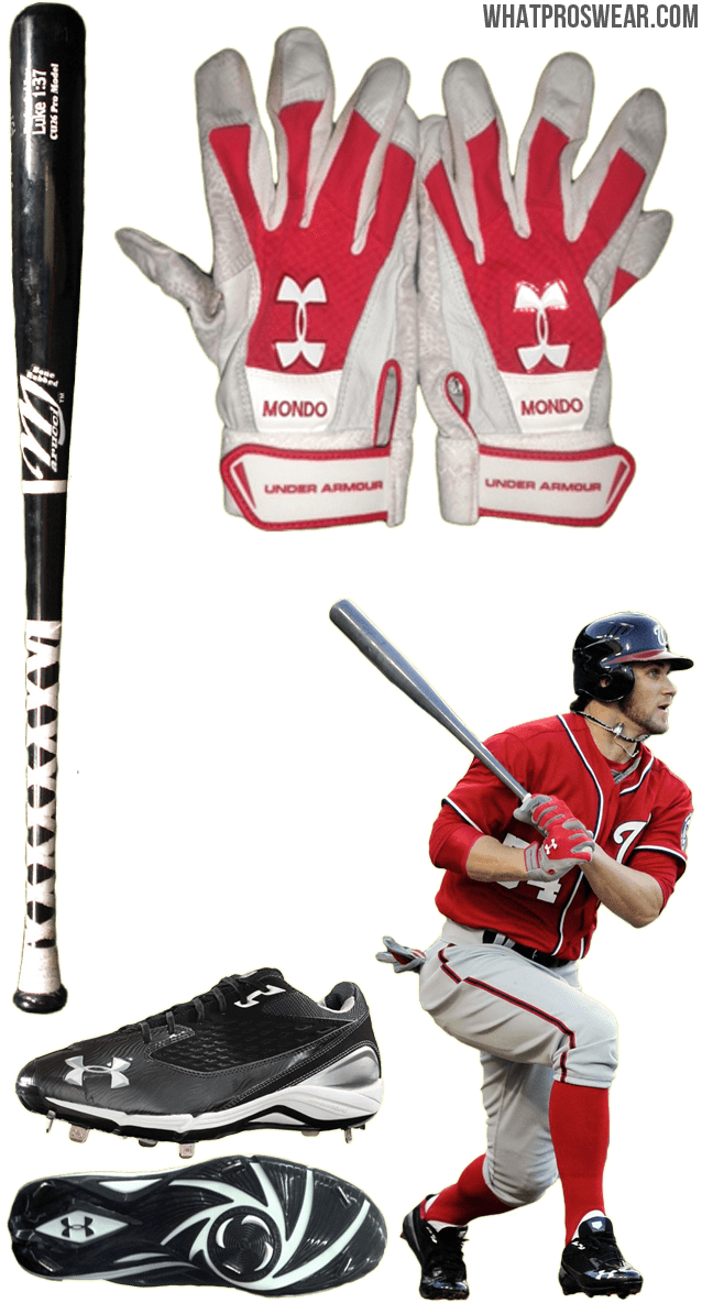 bryce harper bat, bryce harper batting gloves, bryce harper cleats, bryce harper marucci, under armour natural