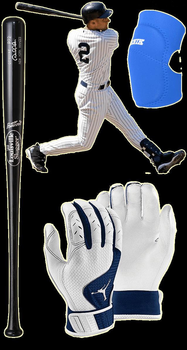 derek jeter bat, derek jeter batting gloves, derek jeter elbow guard, louisville slugger p72, jordan team batting gloves, benik e-400