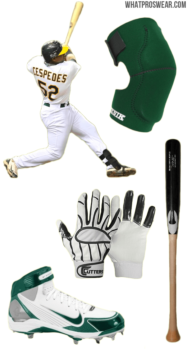 yoenis cespedes bat, yoenis cespedes batting gloves, huarache lwp90 cleats, chandler bat, cutters batting gloves