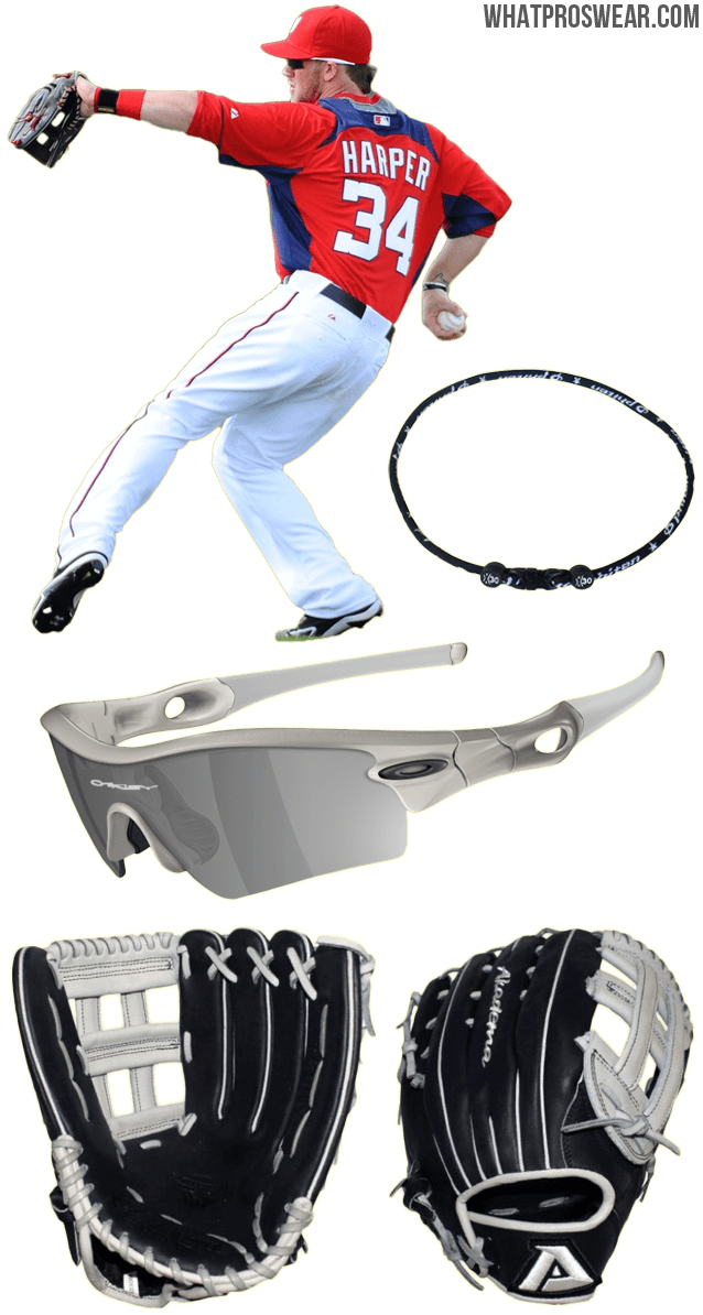 bryce harper glove model, bryce harper sunglasses, bryce harper phiten necklace, bryce harper akadema, amr 34, oakley radar path, phiten x30