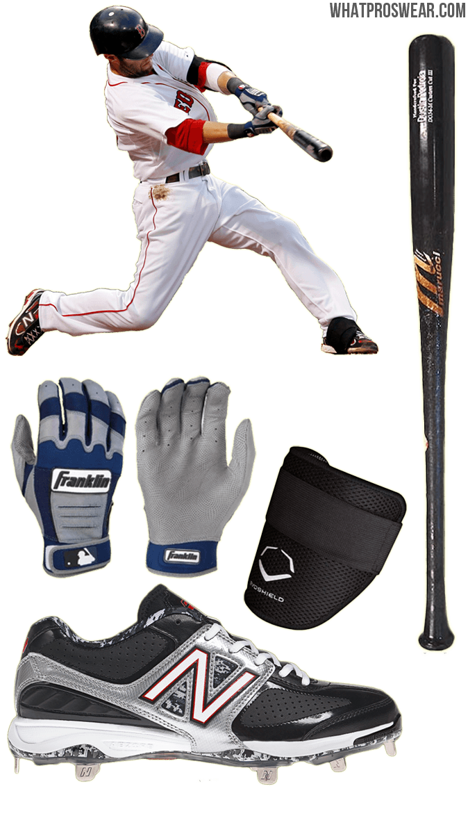 dustin pedroia bat, dustin pedroia batting gloves, cleats, marucci do34, franklin cfx pro, new balance 4040