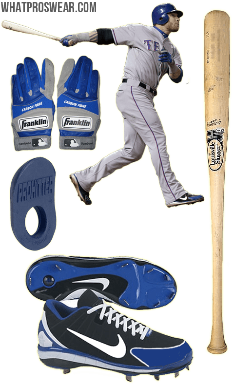josh hamilton bat, batting gloves, cleats, franklin carbon fibre, nike huarache 2k4, prohitter thumb guard