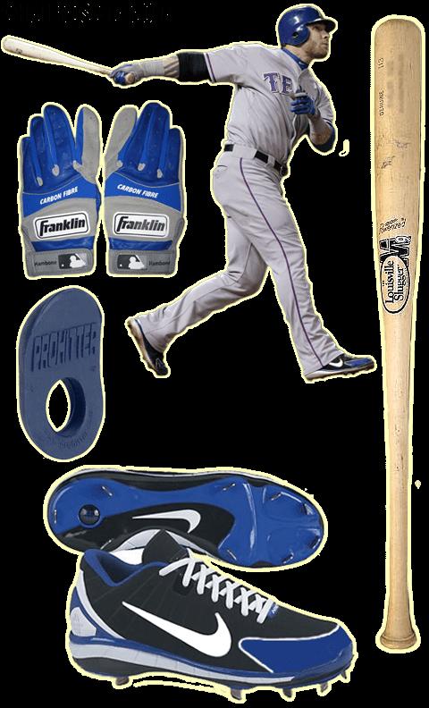 josh hamilton bat, batting gloves, cleats, franklin carbon fibre, nike huarache 2k4, prohitter thumb guard