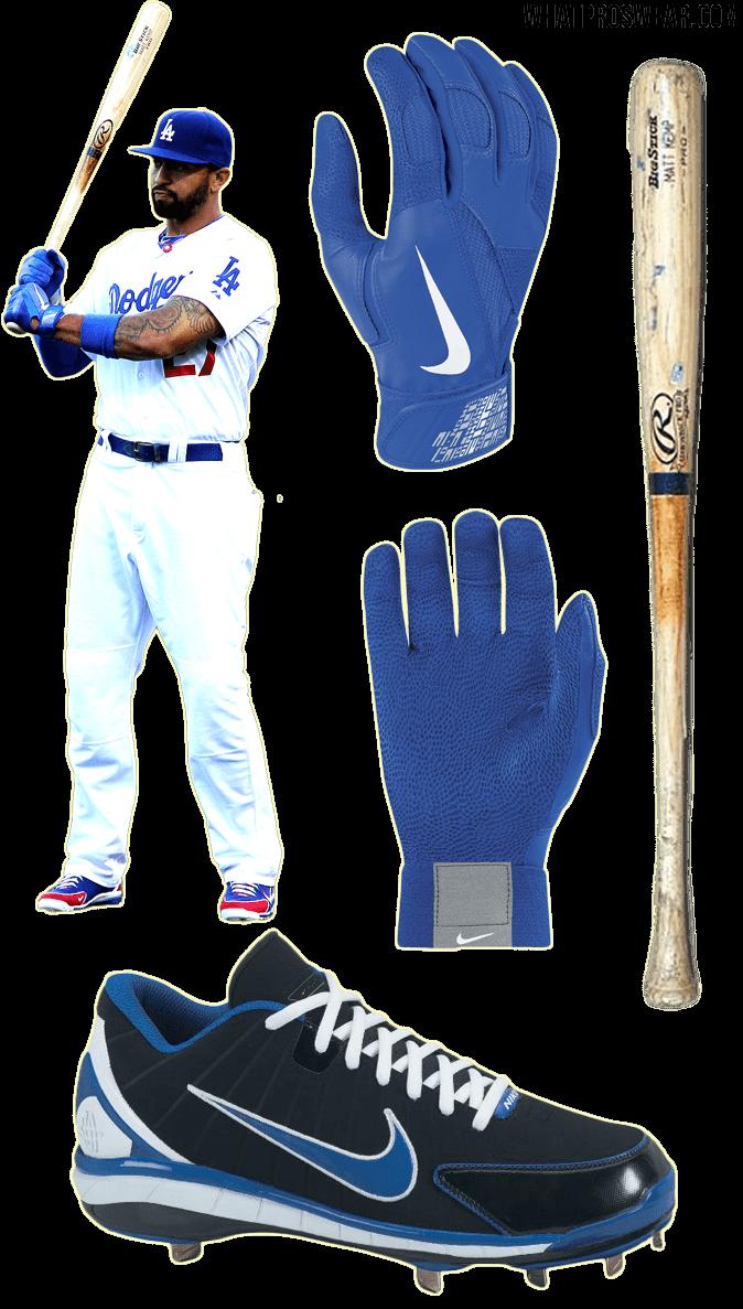matt kemp bat, matt kemp batting gloves, cleats, nike diamond elite pro, nike huarache 2K4, rawlings big stick