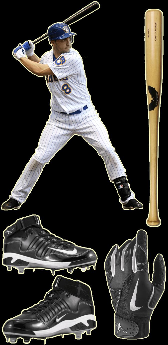 ryan braun bat, batting gloves, cleats, nike air swingman remix 2 cleats, nike swingman batting gloves, sam bat rb8