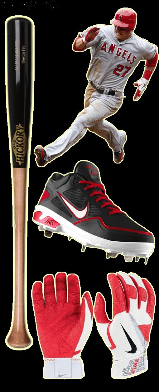 mike trout bat, mike trout batting gloves, old hickory bat, nike diamond elite pro, nike air gamer