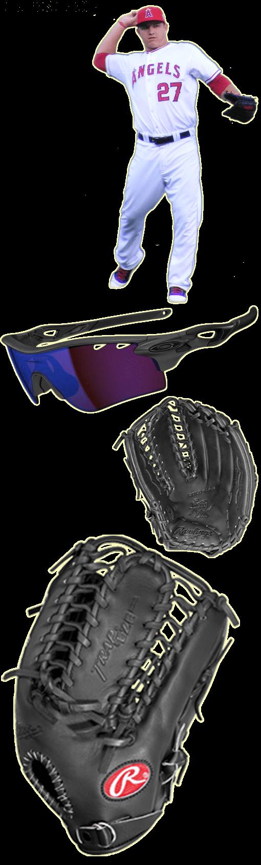 mike trout glove model, mike trout sunglasses, rawlings protb24, oakley radarlock path