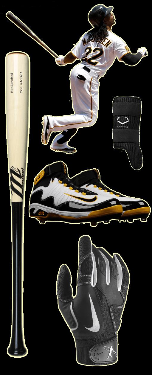 andrew mccutchen bat, andrew mccutchen swingman batting gloves, nike swingman cleats, marucci bat, evoshield leg guard