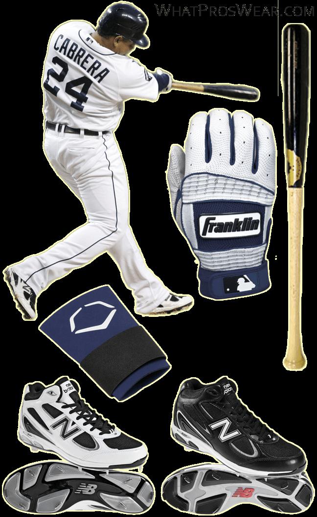 miguel cabrera bat, miguel cabrera batting gloves, sam bat, franklin neo classic ii, new balance 1103 cleats, evoshield wrist guard