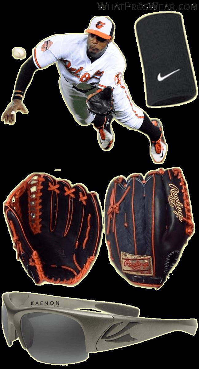 adam jones glove, adam jones sunglasses, nike compression wristband, rawlings pro preferred trapeze, kaenon hard kore titanium
