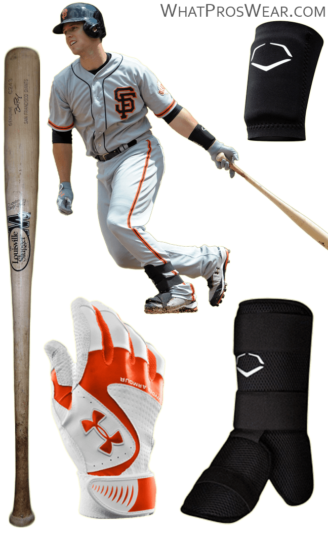 buster posey bat model, buster posey batting gloves, under armour yard vi, under armour ignite cleats, louisville slugger m9