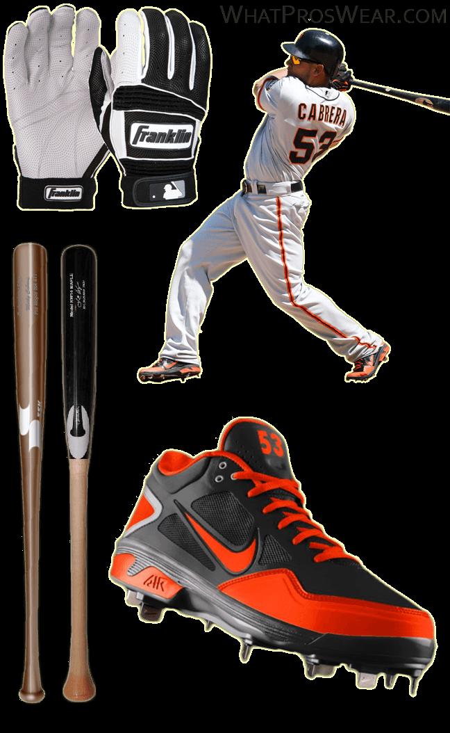 melky cabrera bat, melky cabrera franklin batting gloves, melky cabrera orange cleats, neo classic pro 2