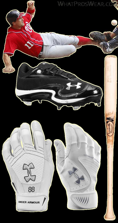 ryan zimmerman bat, ryan zimmerman batting gloves, under armour natural iii cleats, under armour yard vi batting gloves, m9 c353 bat