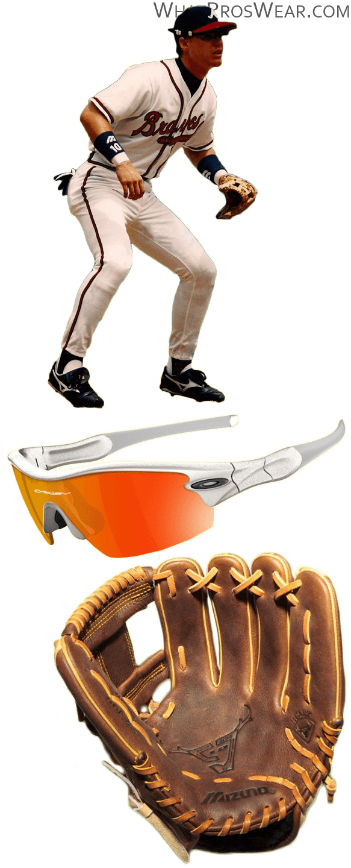 chipper jones glove model, chipper jones sunglasses, mizuno glove, oakley sunglasses, radar path