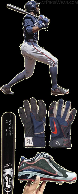 jason heyward bat, jason heyward cleats, jason heyward swingman batting gloves, swingman remix 2 cleats, louisville slugger m9 i13