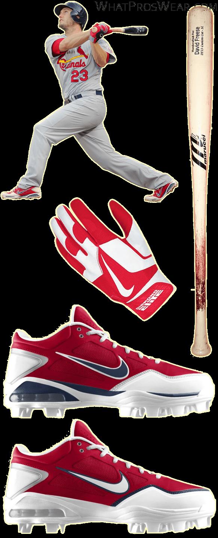 david freese bat, david freese batting gloves, nike air gamer cleats, nike diamond elite pro ii batting gloves, marucci bat