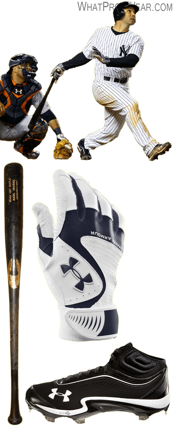 raul ibanez bat, raul ibanez batting gloves, raul ibanez cleats, chandler bat, under armour yard vi batting gloves, under armour heater cleats