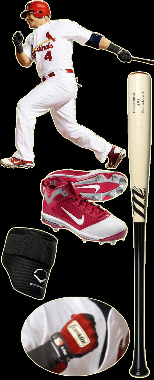 yadier molina bat, yadier molina marucci, yadier molina batting gloves, franklin pro classic, marucci ap5, nike diamond elite fly, evoshield