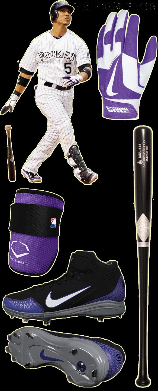 carlos gonzalez bat model, carlos gonzalez batting gloves, americas bat co, nike diamond elite pro ii batting gloves, evoshield elbow, nike huarache 2kfresh
