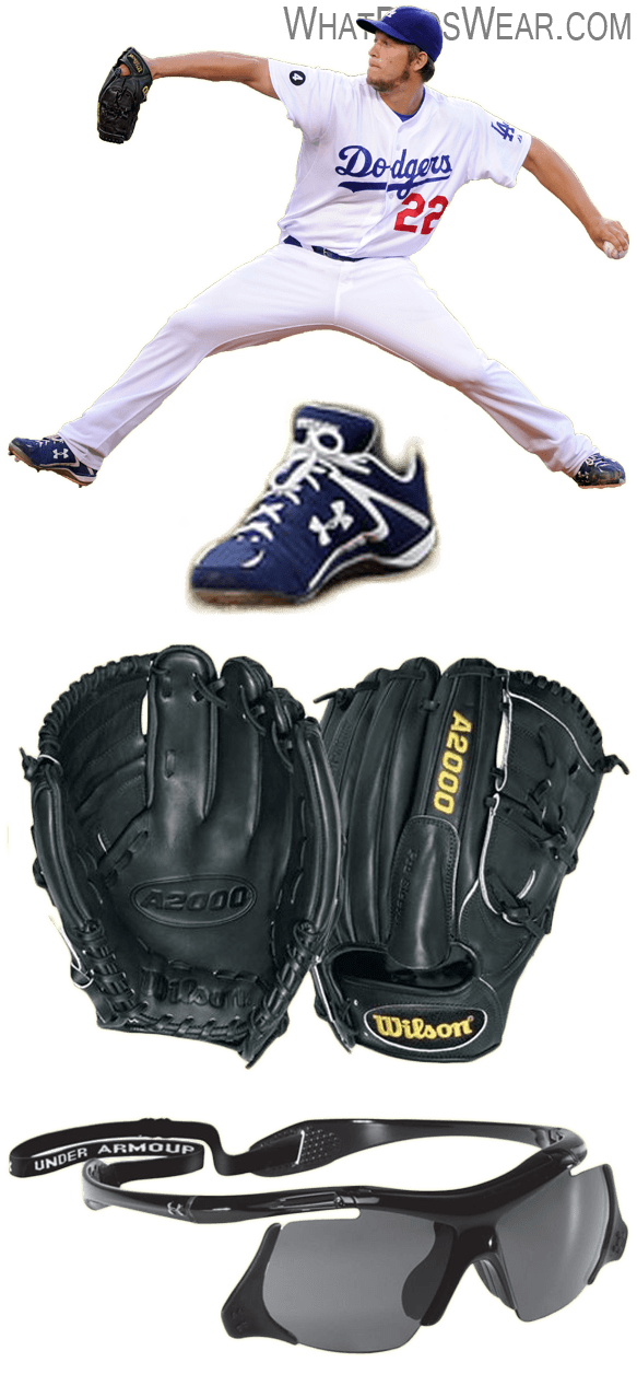 clayton kershaw glove model, wilson a2000 b2, under armour cleats, under armour thief sunglasses