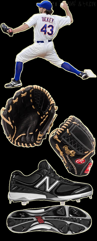 r.a. dickey glove model, r.a. dickey cleats, rawlings pro preferred glove, new balance 4040