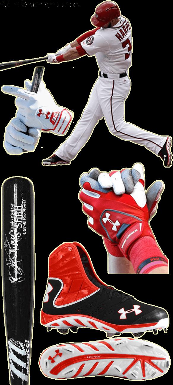 bryce harper bat, bryce harper marucci, bryce harper batting gloves, bryce harper under armour, UA spine highlight