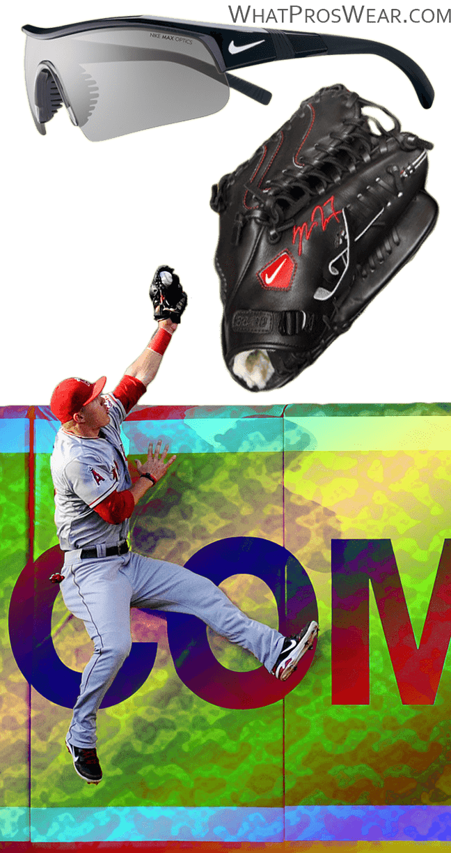 mike trout glove model, mike trout nike glove, mike trout sunglasses, mike trout catch