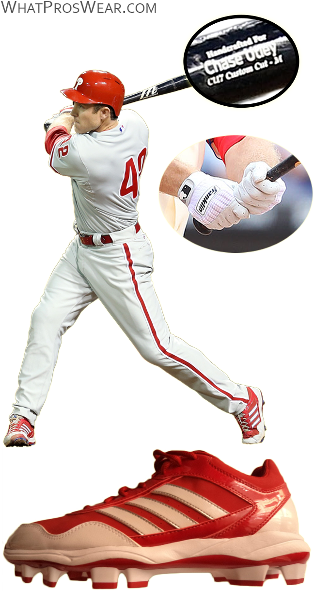 chase utley bat, chase utley batting gloves, chase utley cleats, adidas excelsior pro, franklin pro classic, marucci cu26, chase utley marucci
