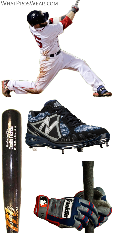 dustin pedroia bat, dustin pedroia batting gloves, new balance 3000 cleats, new balance 4040 cleats, franklin cfx pro batting gloves, marucci bat, david ortiz marucci bat, do34