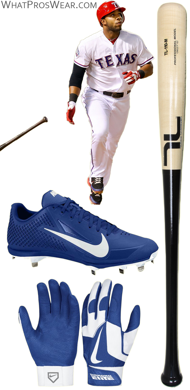 elvis andrus cleats, elvis andrus bat, elvis andrus batting gloves, nike air zoom vapor elite, nike vapor baseball, diamond elite pro ii, tucci bat