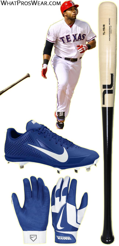elvis andrus cleats, elvis andrus bat, elvis andrus batting gloves, nike air zoom vapor elite, nike vapor baseball, diamond elite pro ii, tucci bat