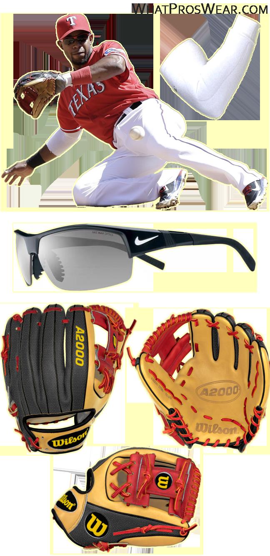 elvis andrus glove, elvis andrus wilson a2000, elvis andrus sunglasses, wilson a2000 1786 ss, nike show x2, brecon sleeve