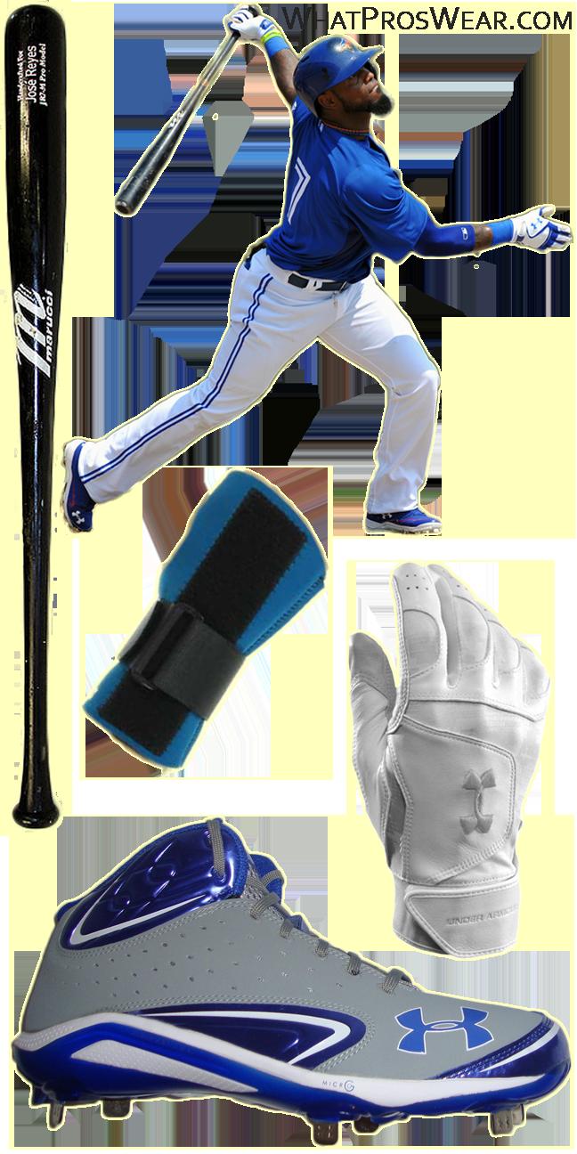 jose reyes bat, jose reyes batting gloves, jose reyes cleats, marucci jr7, benik wrist guard, mlb wrist guard, under armour epic batting gloves, under armour yard iii cleats, yard iii