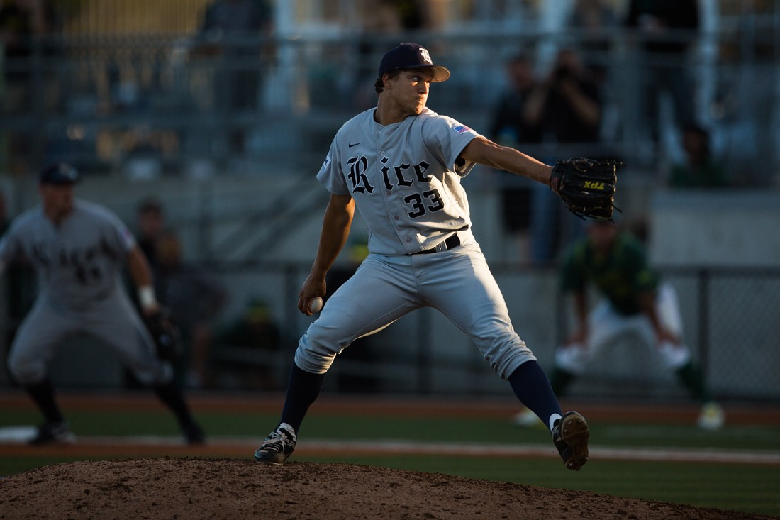Rice Closer/Big-Time Starter Zech Lemond and his TPX Pro Flare. Source: Michael Arellano/Emerald