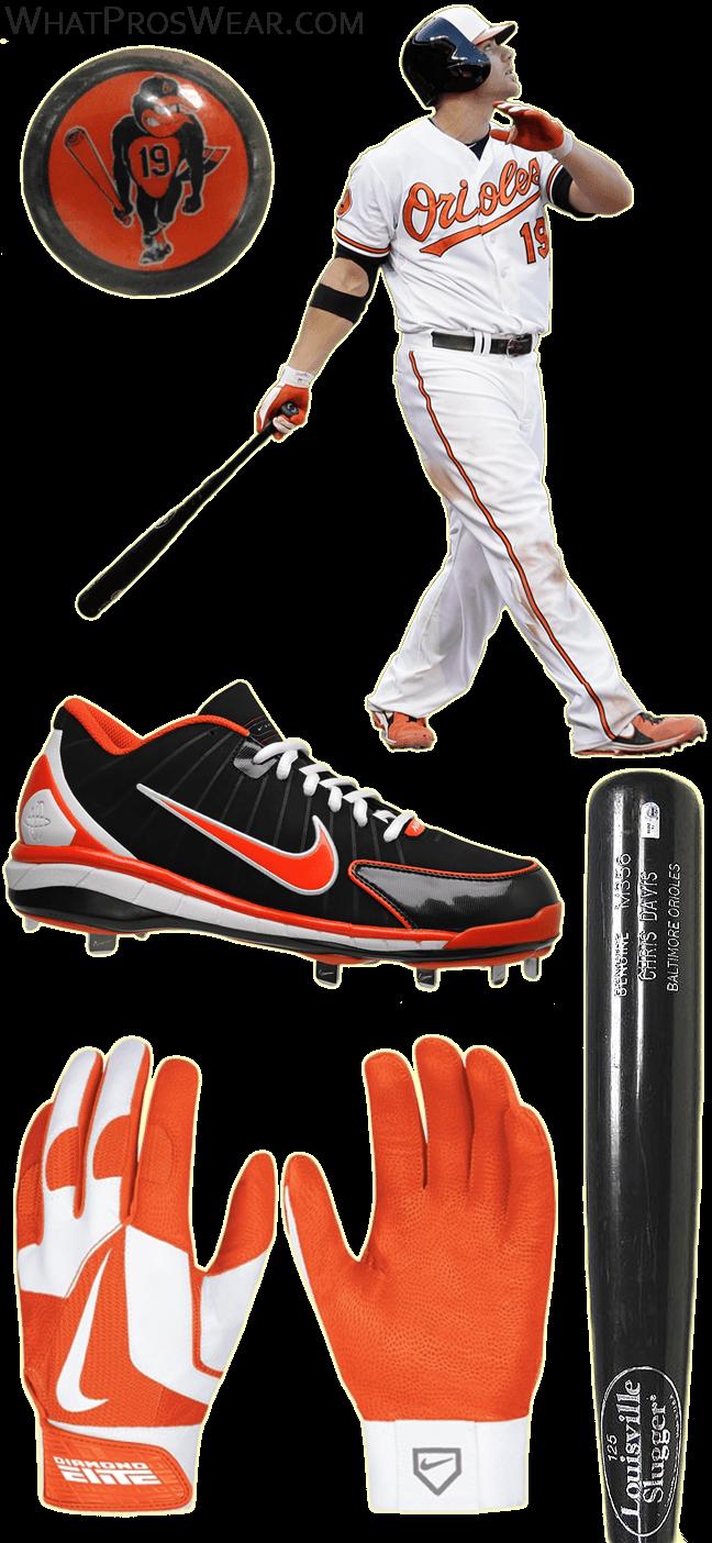chris davis bat model, chris davis cleats, louisville slugger prime, nike air huarache 2k4 low, diamond elite pro ii batting gloves, ebi elbow guard