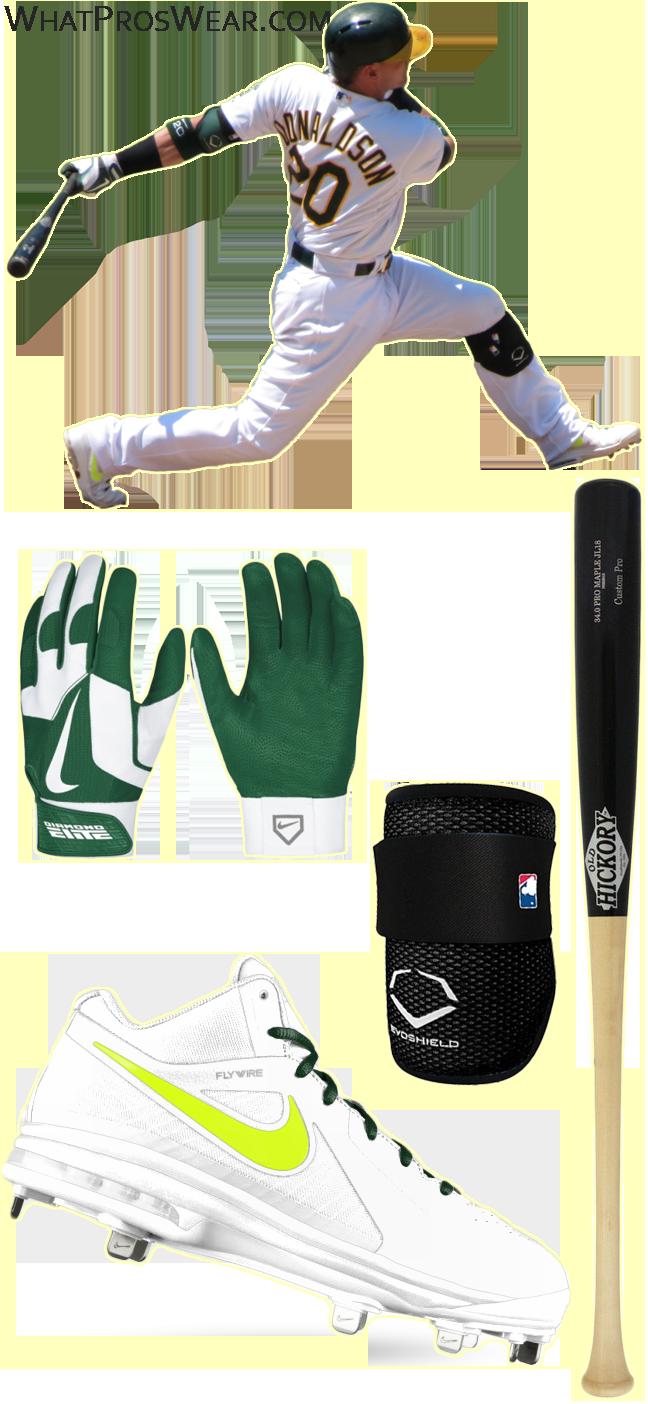 josh donaldson bat model, josh donaldson nike cleats, nike air max mvp elite, old hickory jl18, nike diamond elite pro ii, evoshield elbow guard