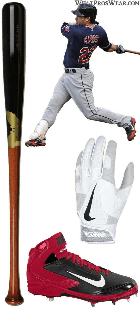 jason kipnis bat model, jason kipnis cleats, air huarache pro mid, nike diamond elite pro ii batting gloves, sam bat kb1