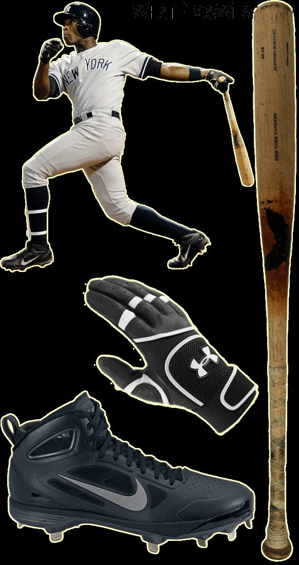alfonso soriano bat model, alfonso soriano cleats, under armour batting gloves, nike lunar huarache carbon elite, sam bat as12