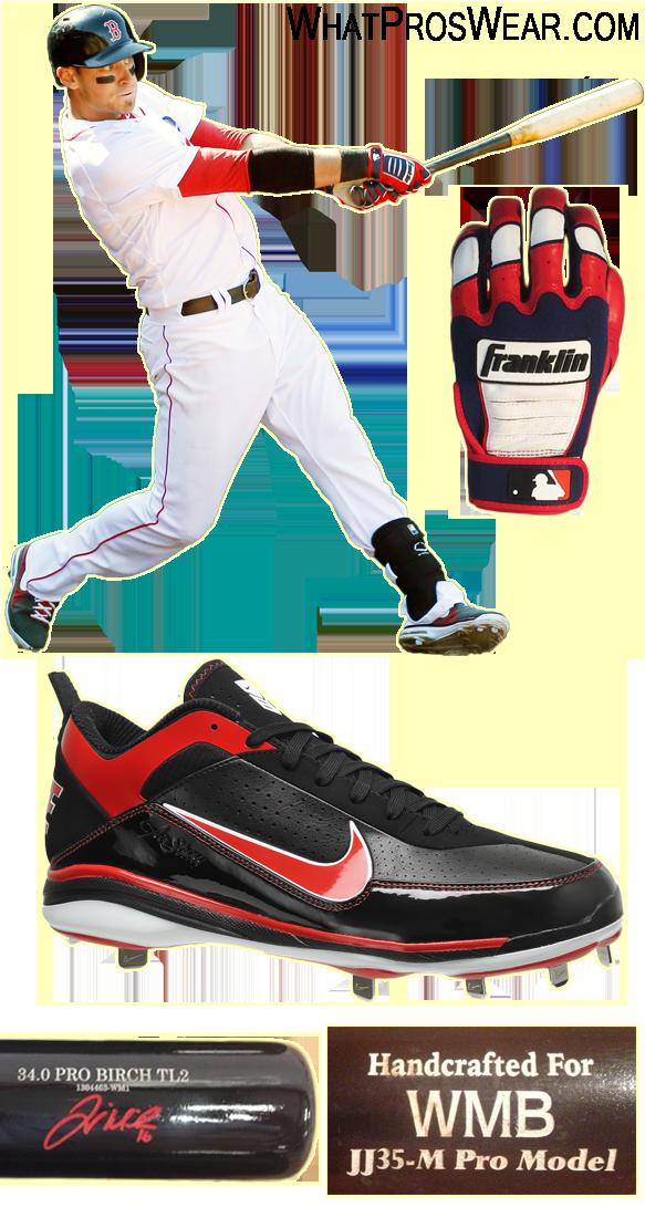 will middlebrooks bat model, will middlebrooks cleats, old hickory tl2, marucci, franklin cfx pro batting gloves, evoshield leg guard